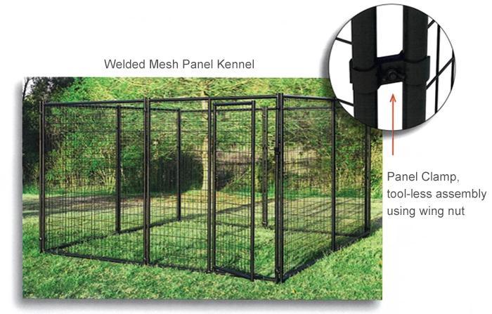 Modular black powder coated steel tube pet crate cages dog boarding kennels05