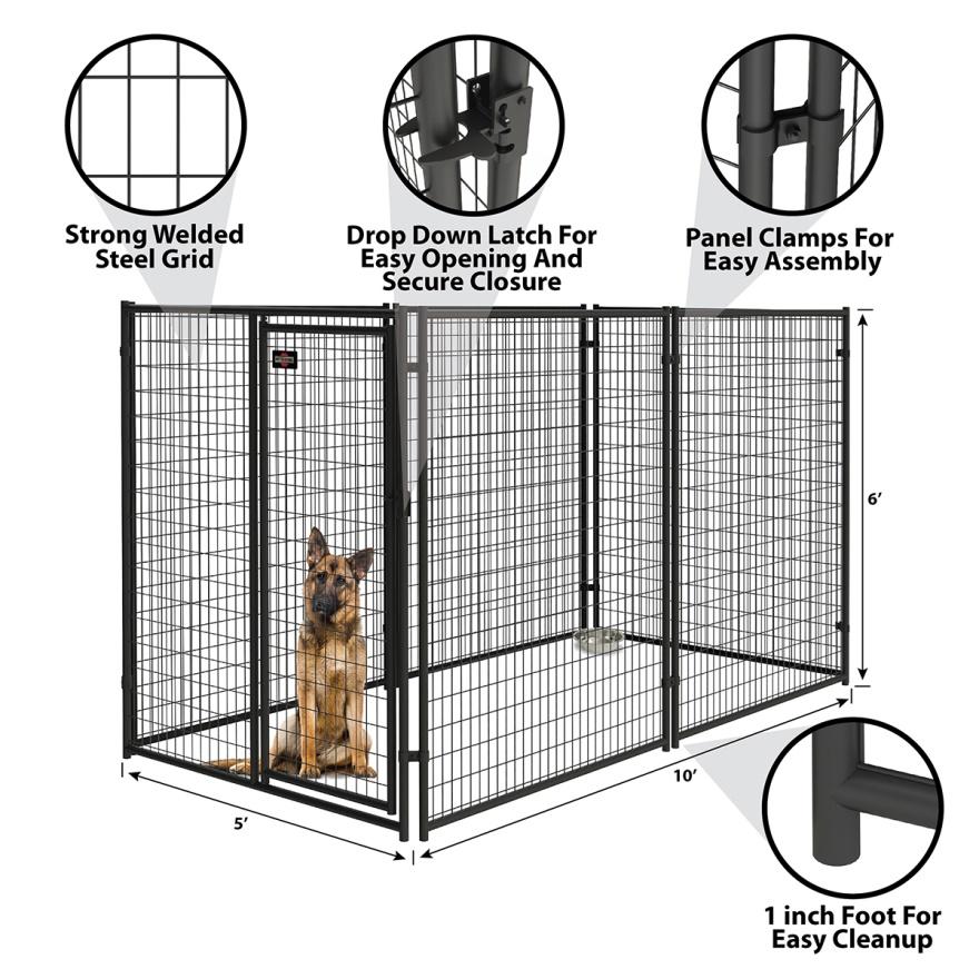 Modular black powder coated steel tube pet crate cages dog boarding kennels06