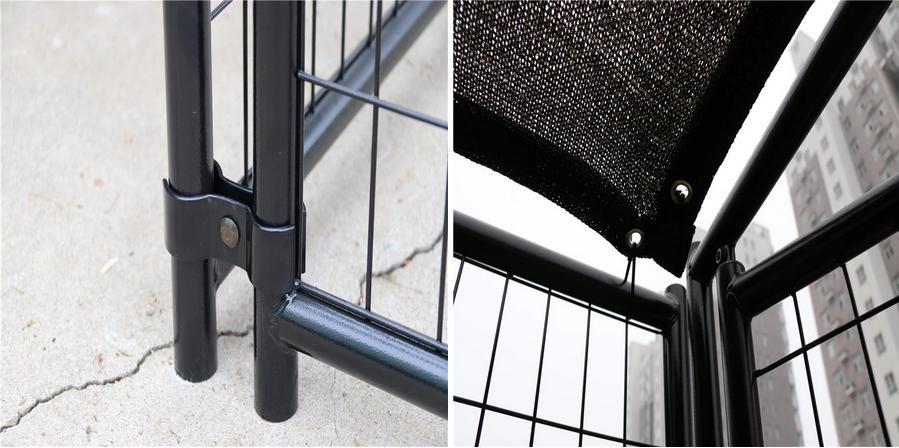 Modular black powder coated steel tube pet crate cages dog boarding kennels08