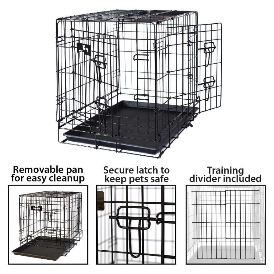 Multiple Sizes Double-Door Folding Metal Dog Cage05