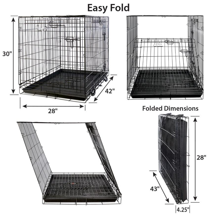 Multiple Sizes Double-Door Folding Metal Dog Cage26